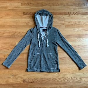 Hurley grey marled knit lace up hoodie